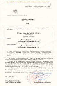 Certyfikat str. 1-produkcja sterylna