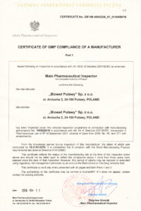 Certyfikat str. 1-wersja ang.-produkcja sterylna