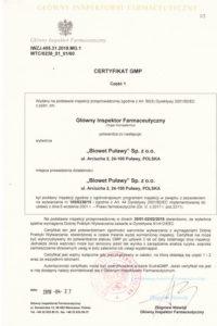 Certyfikat GMP - I produkty sterylne