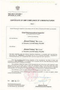 Certyfikat GMP - produkty sterylne - I wersja ang.