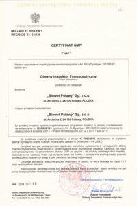 Certyfikat GMP- produkty biologiczne