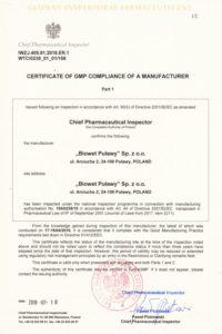 Certyfikat GMP- produkty biologiczne, j. ang