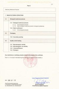 Certyfikat GMP- produkty biologiczne, j. ang, str 2