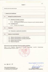 Certyfikat GMP- produkty biologiczne str. 2