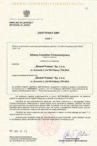 Certyfikat GMP str.1 - produkty niesterylne - wersja PL