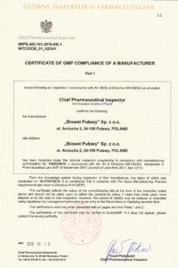 Certyfikat GMP str.1 - produkty niesteryne - wersja EN